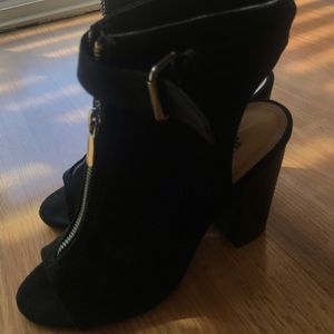 Just fab black open toe booties